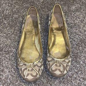 Size 8 gold coach ballet flats